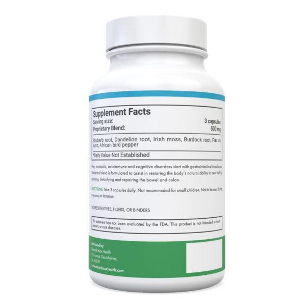Maximum Colon Detox & Cleanse— back of bottle ingredients label.