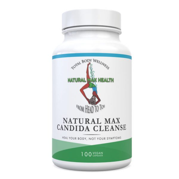 Natural Max Candida Cleanse capsules front of bottle label.