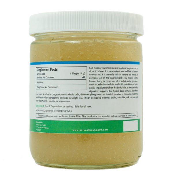 Sea Moss—back of jar ingredients label.